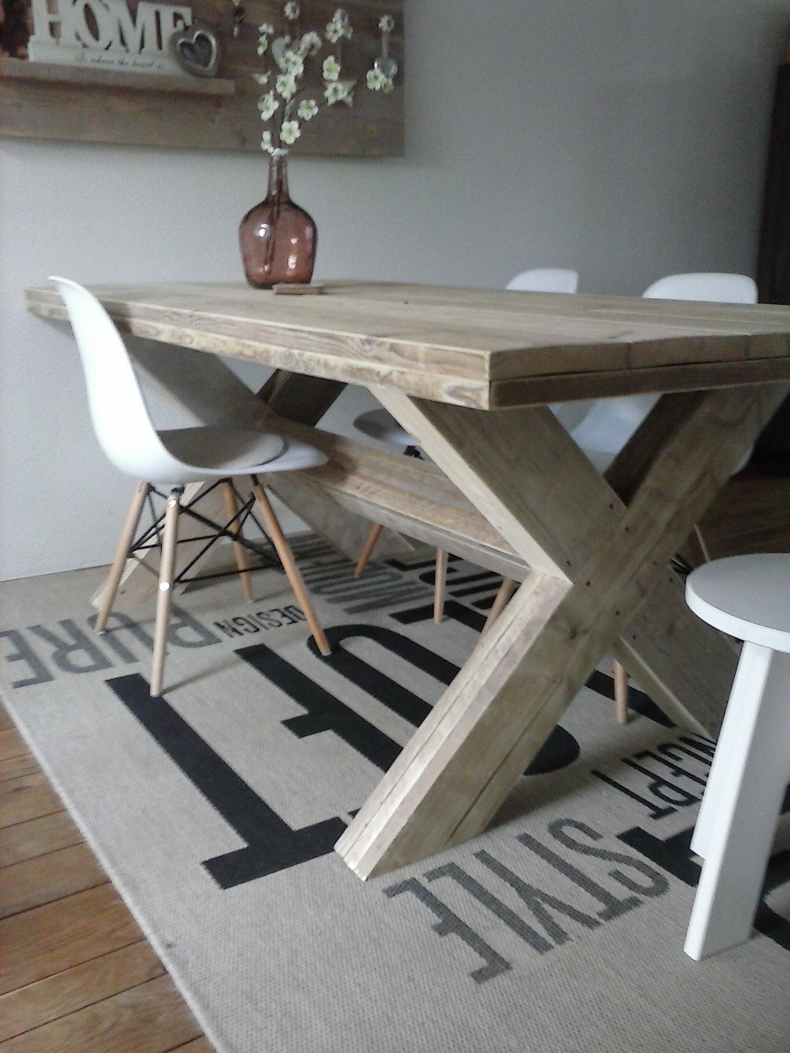 tafel met kruispoot, 190x100