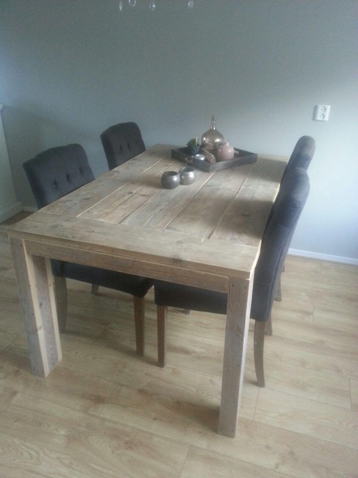 Tafel met blokpoten, oud steigerhout