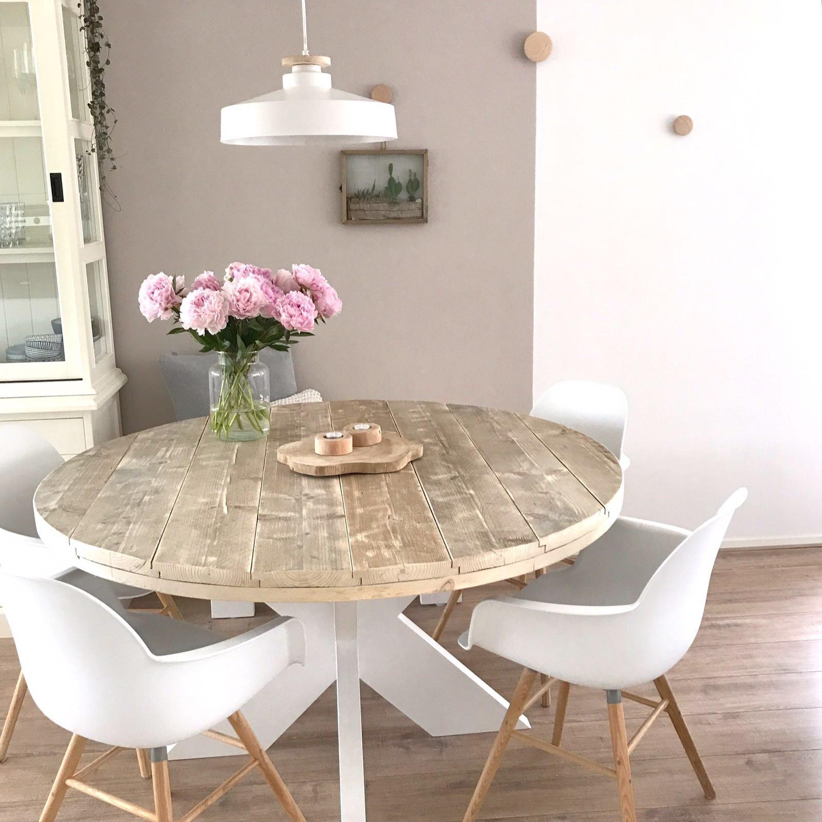 ronde tafel witte platte kruispoot 1