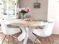ronde tafel witte platte kruispoot